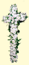 A christian burial cross in white