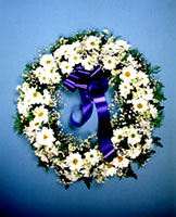 A funeral wreath in Cyprus - a simple expression of sadness.